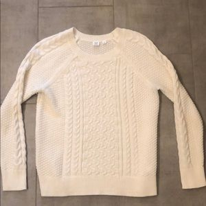 Gap cable knit sweater in white/cream